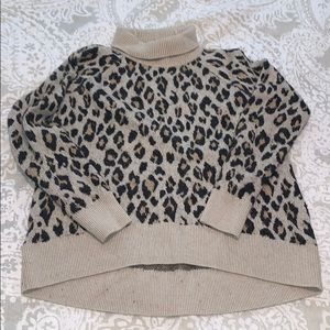 LOFT leopard turtle neck sweater
